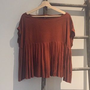By together pleated swing top in burnt orange